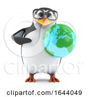 3d Penguin Character In Glasses Holding A Globe Of The Earth by Steve Young