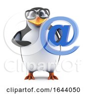 3d Academic Penguin Holding An Email Address Symbol by Steve Young