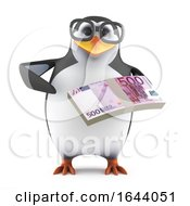 3d Penguin Character In Glasses Holding A Wad Of Euro Banknotes