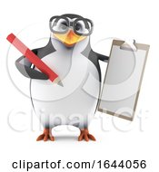 3d Penguin Character In Glasses Holding A Clipboard And Pencil by Steve Young