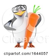 3d Penguin Character In Glasses Holding An Organic Carrot by Steve Young