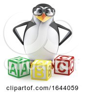 3d Academic Penguin With Letter Blocks by Steve Young