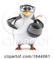 3d Penguin Character In Glasses Holding A Bomb by Steve Young