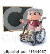 3d Boy In Wheelchair At A Blackboard