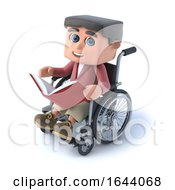 3d Boy In Wheelchair Reading A Book