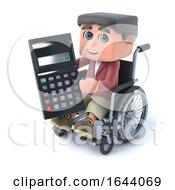 3d Boy In Wheelchair Has A Calculator