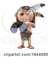 3d Funny Cartoon Native American Indian Boy Has A Pair Of Binoculars