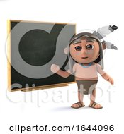 3d Funny Cartoon Native American Indian Character At The Blackboard