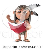 3d Funny Cartoon Native American Indian Boy Is Reading A Book