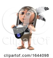 3d Funny Cartoon Native American Indian Boy Character Has A New Camera