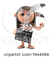 3d Funny Cartoon Native American Indian Boy Is Making A Movie With Clapperboard