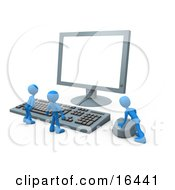 Two Tiny Blue Employees Standing In Front Of A Computer Keyboard And Looking Up At A Flat Screen Lcd Monitor Screen While One Person Operates The Mouse