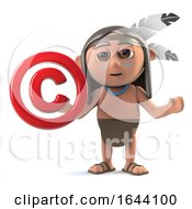 3d Funny Cartoon Native American Indian Boy Holding A Copyright Symbol