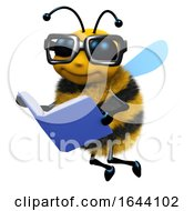 Funny Cartoon 3d Honey Bee Is Reading A Book