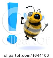 3d Honey Bee Surprised By An Exclamation Symbol