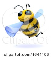3d Honey Bee With A Megaphone