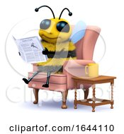3d Honey Bee Reading The Paper