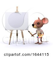 Poster, Art Print Of 3d Mouse Character Painting At An Easel With Brush And Palette