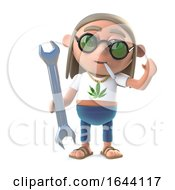 3d Stoner Hippie Holding A Spanner