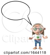 3d Stoner Hippie With Empty Speech Balloon