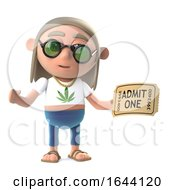 3d Funny Cartoon Hippy Stoner Character Holding An Admission Ticket To A Show