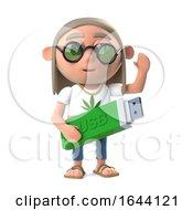 Poster, Art Print Of 3d Funny Cartoon Hippy Stoner Has A Usb Memory Stick