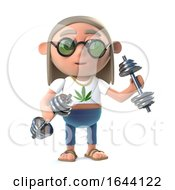 Poster, Art Print Of 3d Funny Cartoon Hippy Stoner Character Working Out With Gym Weights
