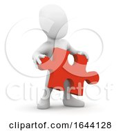 3d Little Person Holding A Jigsaw Puzzle Piece by Steve Young