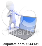 3d Little Person Standing By A Laptop Computer