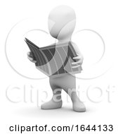 3d Little Person Reading A Newspaper