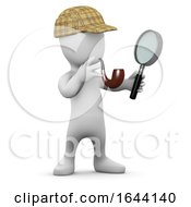 3d Little Man With Deerstalker Hat And Pipe