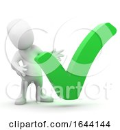 Poster, Art Print Of 3d Little Person With A Big Green Vote Tick