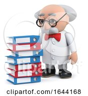 3d Scientist Character With Pile Of Files In Old Folders by Steve Young