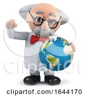 3d Scientist Holding A Globe Of The Earth