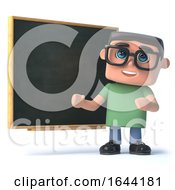 3d Boy Wearing Glasses At The Blackboard