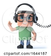 3d Boy In Glasses Listens To His Headphones