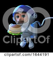 3d Astronaut Eats A Burger In Space