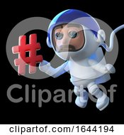 3d Cartoon Astronaut Character Floats In Space With A Hash Tag Symbol
