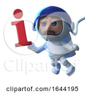 3d Cartoon Astronaut Floats In Space With An Information Symbol