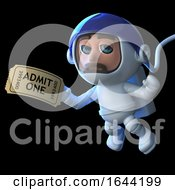 3d Astronaut Hands In His Ticket