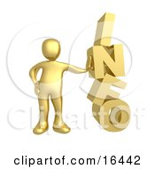 Gold Person Leaning Against The Word INFO Clipart Illustration Graphic by 3poD