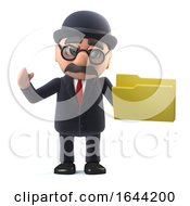 3d Bowler Hatted British Businessman Has A Folder by Steve Young