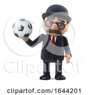 3d Bowler Hatted British Businessman Loves Football by Steve Young