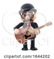 3d Bowler Hatted British Businessman Plays Acoustic Guitar by Steve Young
