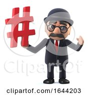 3d Funny Bowler Hatted British Businessman Character Holds A Hash Tag Symbol by Steve Young