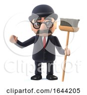 3d Bowler Hatted British Businessman Character Has A Broom To Sweep With by Steve Young