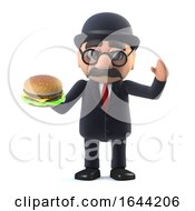 3d Bowler Hatted British Businessman Holding A Beef Burger by Steve Young