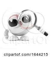 3d Baseball Character Looks Through A Magnifying Glass