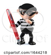 3d Burglar Forges A Signature With A Red Pen