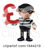 3d Burglar Has UK Pounds Sterling Currency Symbol